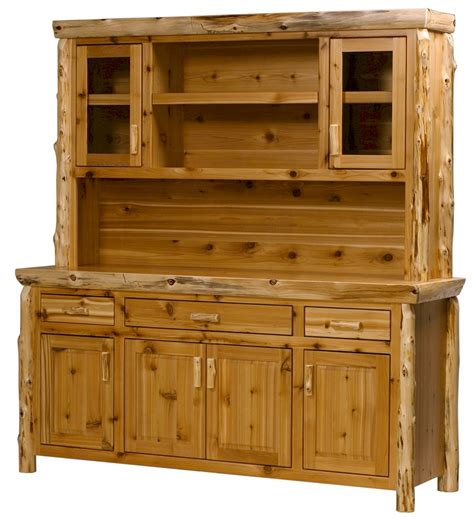Log Hutch custom buffet hutch cabinet is available in pine or cedar