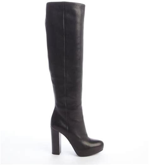 prada high heel boots prada black leather knee high platform heel boots in black