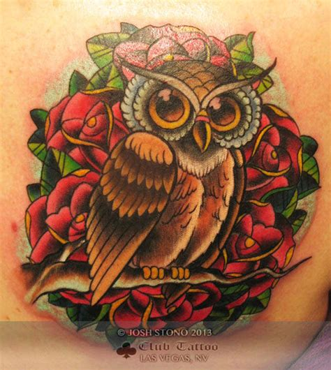 new school tattoo vegas joshstono owl traditional roses new school