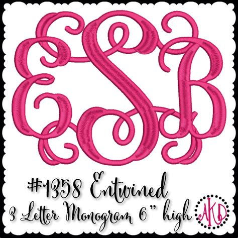 embroidery design monogram entwined or vine 3 letter embroidery monograms akdesigns