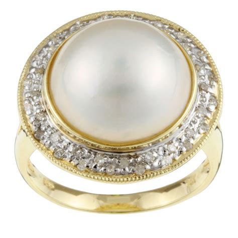 kabella 14k gold mabe pearl and 1 5ct tdw ring 14