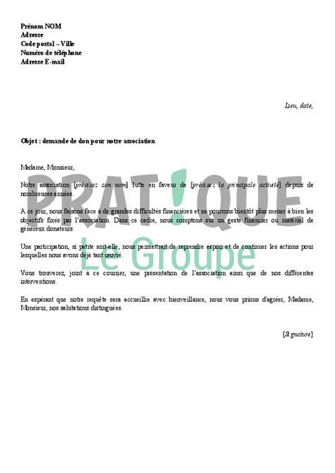 Lettre De Remerciement Don Lettre De Demande De Don Pour Une Association Pratique Fr