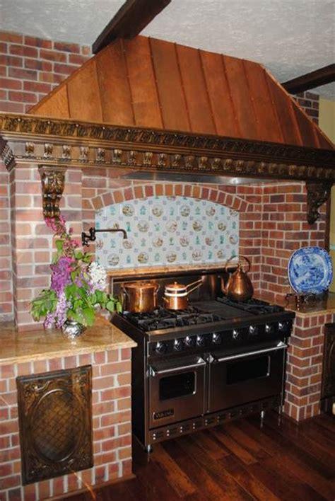 modern day kitchen decor  brick walls  interior