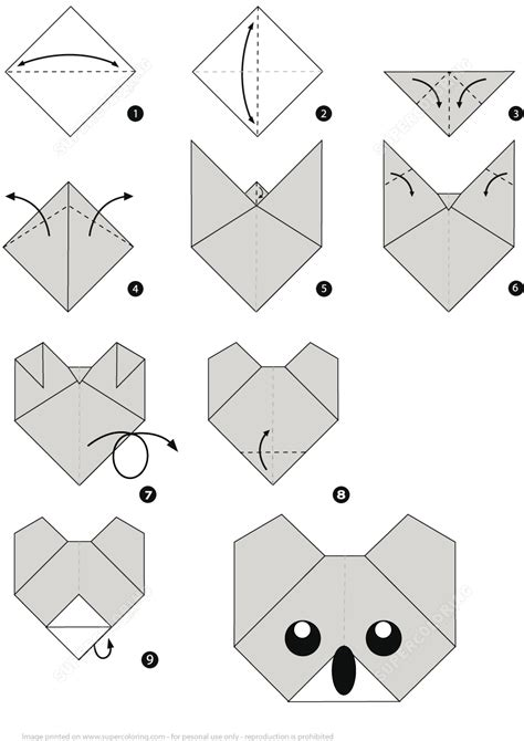 Origami Paper Step By Step - how to make an origami koala step by step