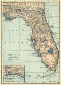 florida map digital at 300dpi of vintage state map