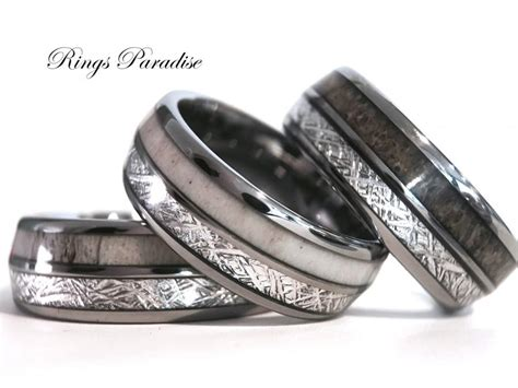 Antler Elk Wedding Band, Meteorite Inlay Tungsten Ring