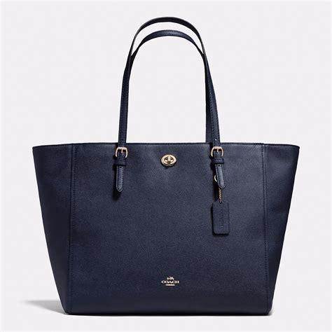 Bag Tote Navy handbag coach navy turnlock baby bag in crossgrain leather zip tote shopper handbags purses