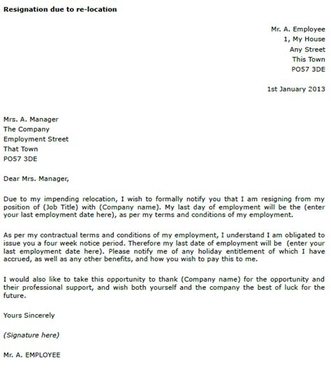Resignation Letter Exle Relocation Resignation Exle Due To Re Location Toresign