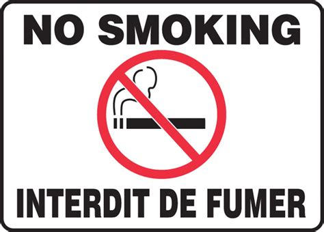 no smoking sign french no smoking french bilingual smoking control sign fbmsmk948m