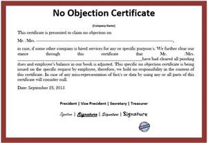 no objection certificate template 10 free sle no objection certificate templates