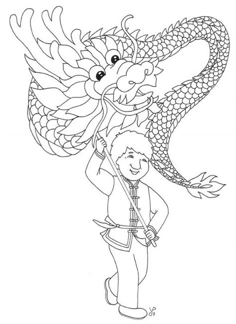 dragon dance coloring page chinese new year main 2013