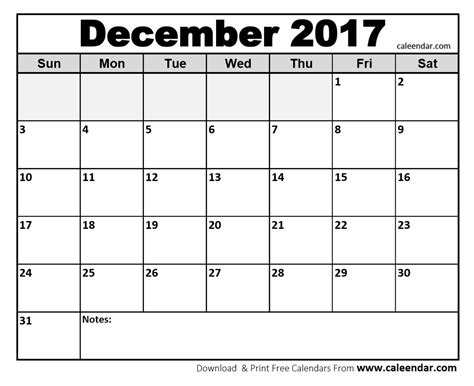 download december 2017 calendar printable templates