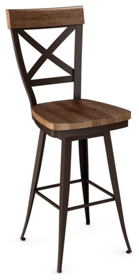 industrial wooden kitchen stools cross back swivel stool with wood seat counter seat