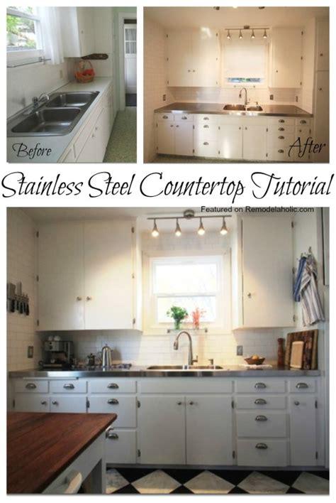 Diy Metal Countertops by Remodelaholic Affordable Stainless Steel Countertops Diy