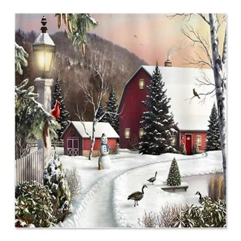 Country Christmas Shower Curtain Holiday Decor Pinterest
