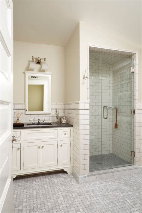traditional bathroom floor tile subway tile shower bathroom traditional with bungalow