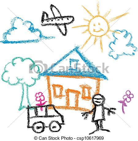 Free House Plans For Students Clip Art Vector Of Kids Draw Kids Crayon Drawing Of
