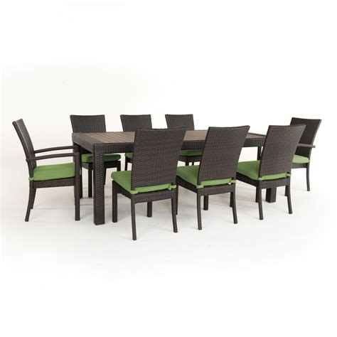 rst brands deco 9 patio dining set with ginkgo green