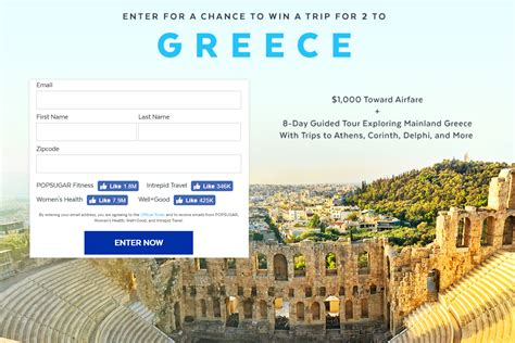 enter for a chance to win a trip for 2 to greece sweepstakes - Greece Sweepstakes