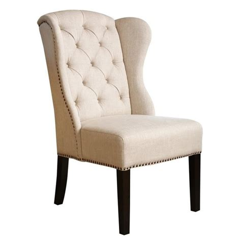 abbyson living kyrra tufted linen wingback dining chair in