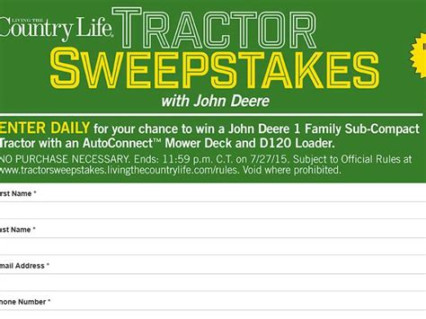 Tractor Sweepstakes - the john deere tractor sweepstakes