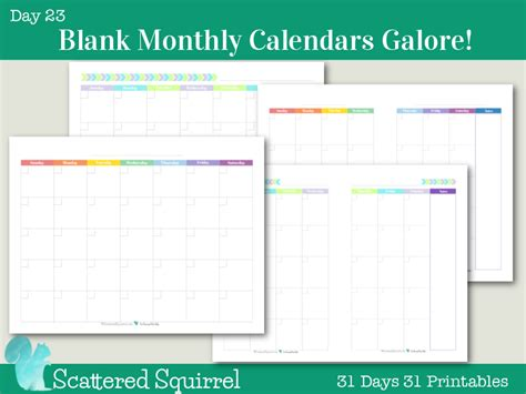Why Calendars Start On Sunday Day 23 Blank Monthly Calendars Galore Scattered Squirrel