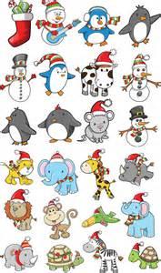 Cartoon christmas animals vector