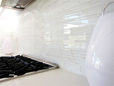 White Kitchen Backsplash Tiles white glass tile backsplash kitchen midcentury with