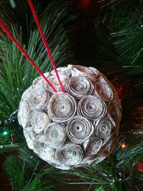 Handmade Paper Ornaments - handmade book page ornament paper rosette ornament