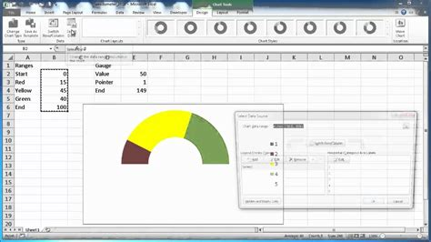 create a speedometer chart in excel 2010 youtube