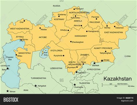 map of and surrounds kazakhstan administrative districts capitals and