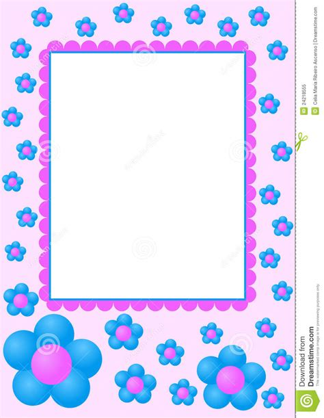 Id 82 Blue Flower blue flowers frame stock illustration illustration of