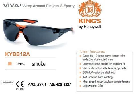 Kacamata Safety King S Ky 1152 Smoke Lens jual kacamata safety king s ky 8812a black original safety welding