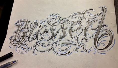 quot blessed quot custom lettering by steve chen tattoo