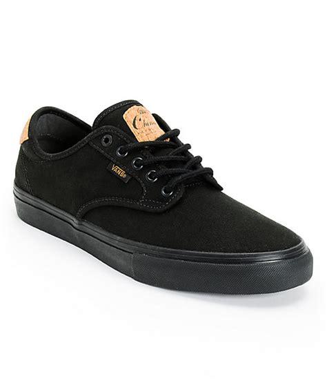 vans chima pro cork black canvas skate shoes