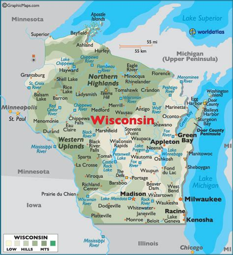 wisconsin on us map map of wisconsin large color map