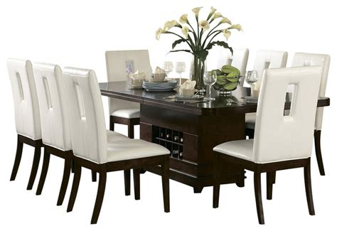 Homelegance Elmhurst Pedestal Dining Table With Wine Dining Table With Wine Storage