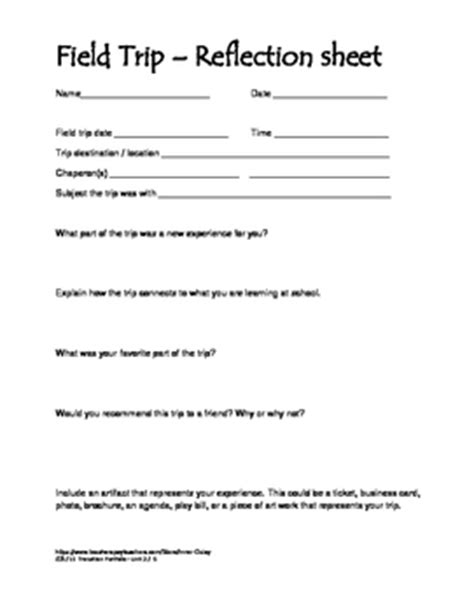 field trip reflection worksheet by inner daisy tpt
