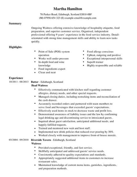 Duties Of A Waitress For Resume by Waitress Description For Resume Resume Ideas