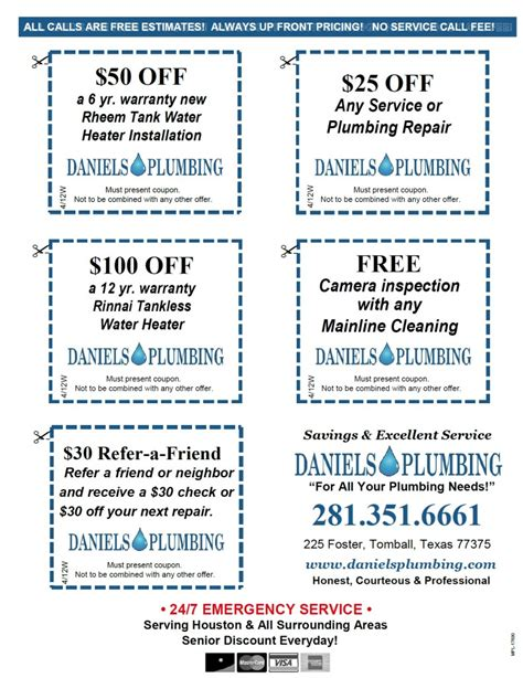 Plumb Discount Code by Plumbing Coupons Specials Houston