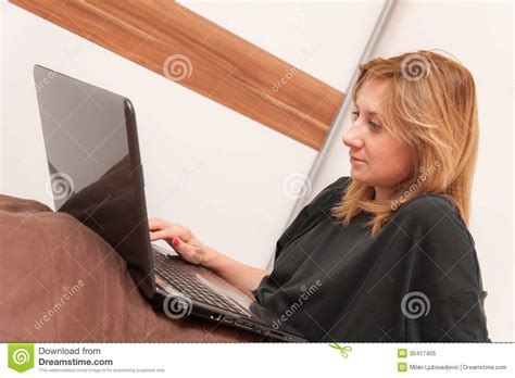 working girls in bed girl in bed with laptop royalty free stock photo image 35417405