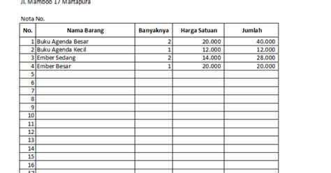 Nota Penjualan 2 Rangkap macro in excel membuat nota penjualan