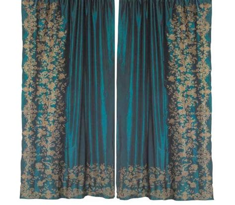 teal silk curtains juliet teal silk embroidered curtain
