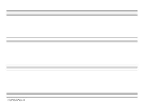 printable manuscript paper landscape printable music paper with four staves on letter sized