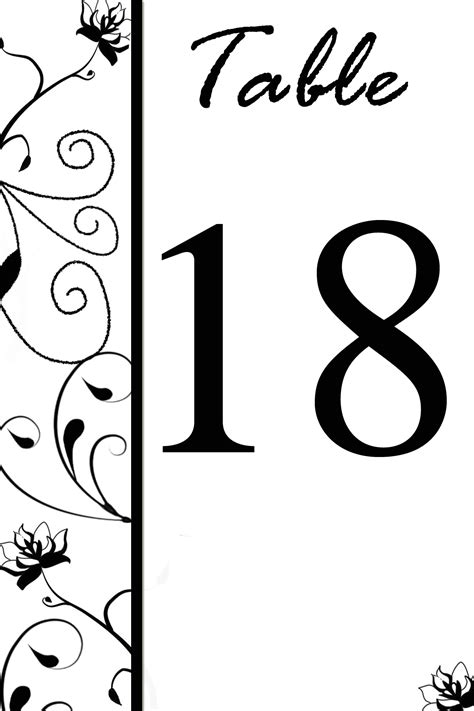 free table number templates free table number templates swirly flowers bridal tees