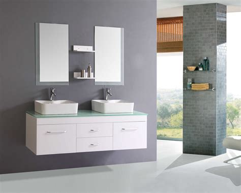 nice white floating modern bathroom vanity with glass top