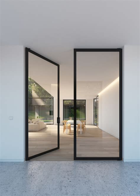 modern glass doors double glass door with quot steel look quot frames portapivot