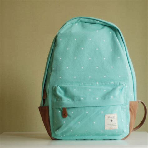 dotted canvas backpack sweet polka dot print mint green canvas backpack