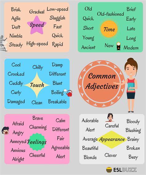 adjective list common adjectives in esl buzz