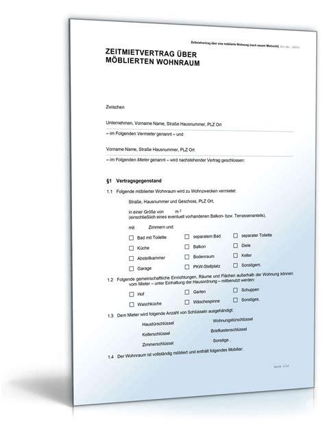 wohnung zu vermieten vorlage zeitmietvertrag m 246 blierter wohnraum muster vorlage zum